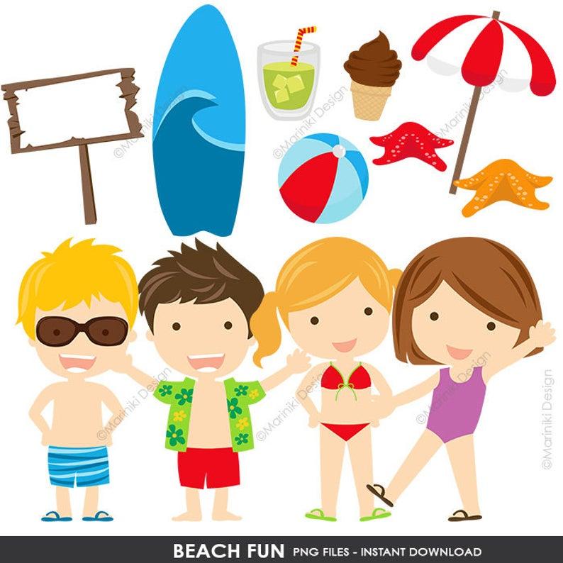 Beach Clipart, Beach Clip Art, Summer Fun Clipart, Splish Splash, Graphics  for Birthday Invitations Scrapbook INSTANT DOWNLOAD CLIPARTS C56.