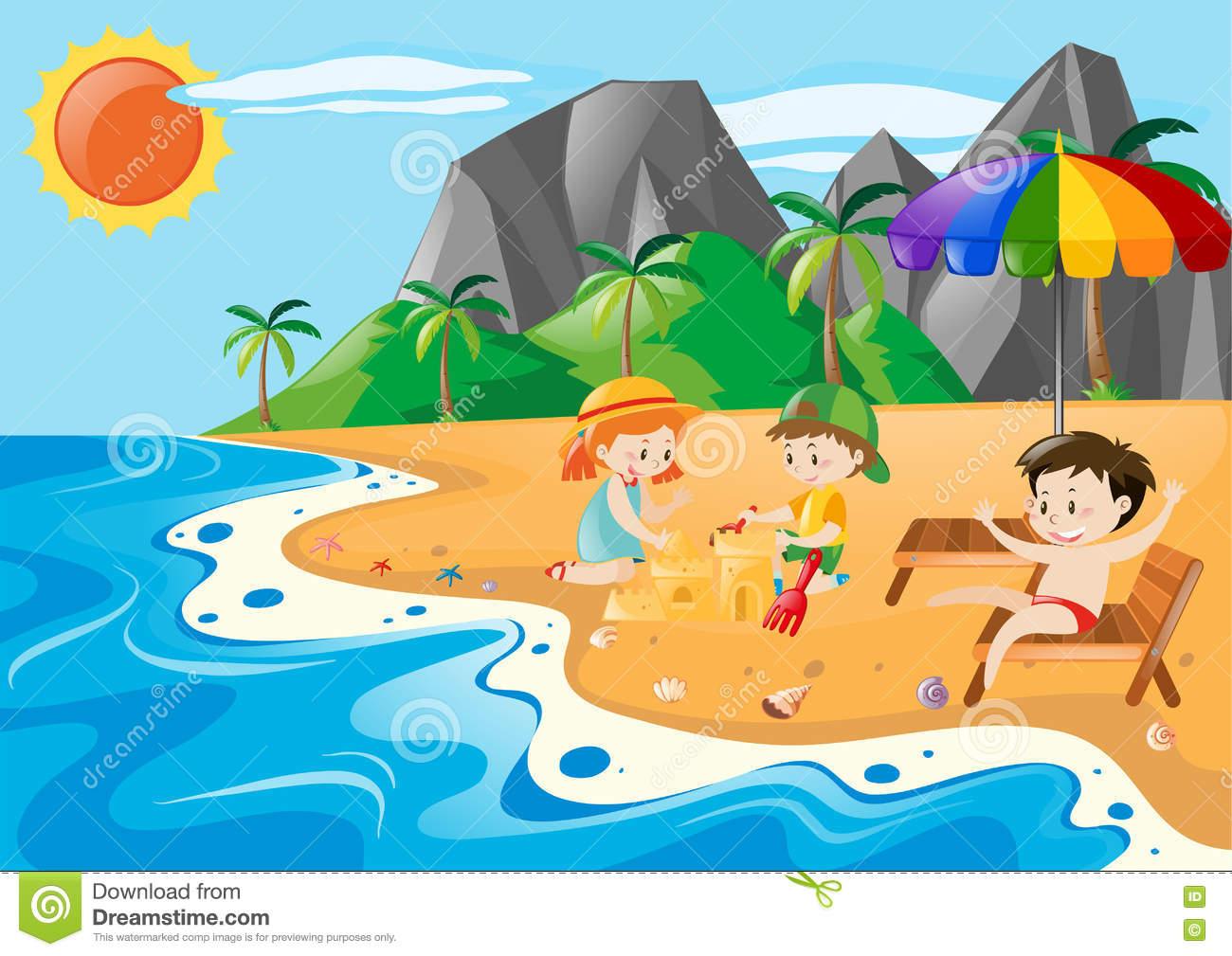 Children Having Fun On The Beach Stock Vector.