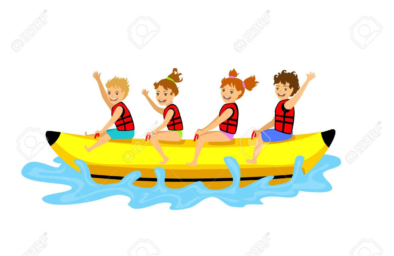 kids children riding banana boat. summer beach time fun activities.