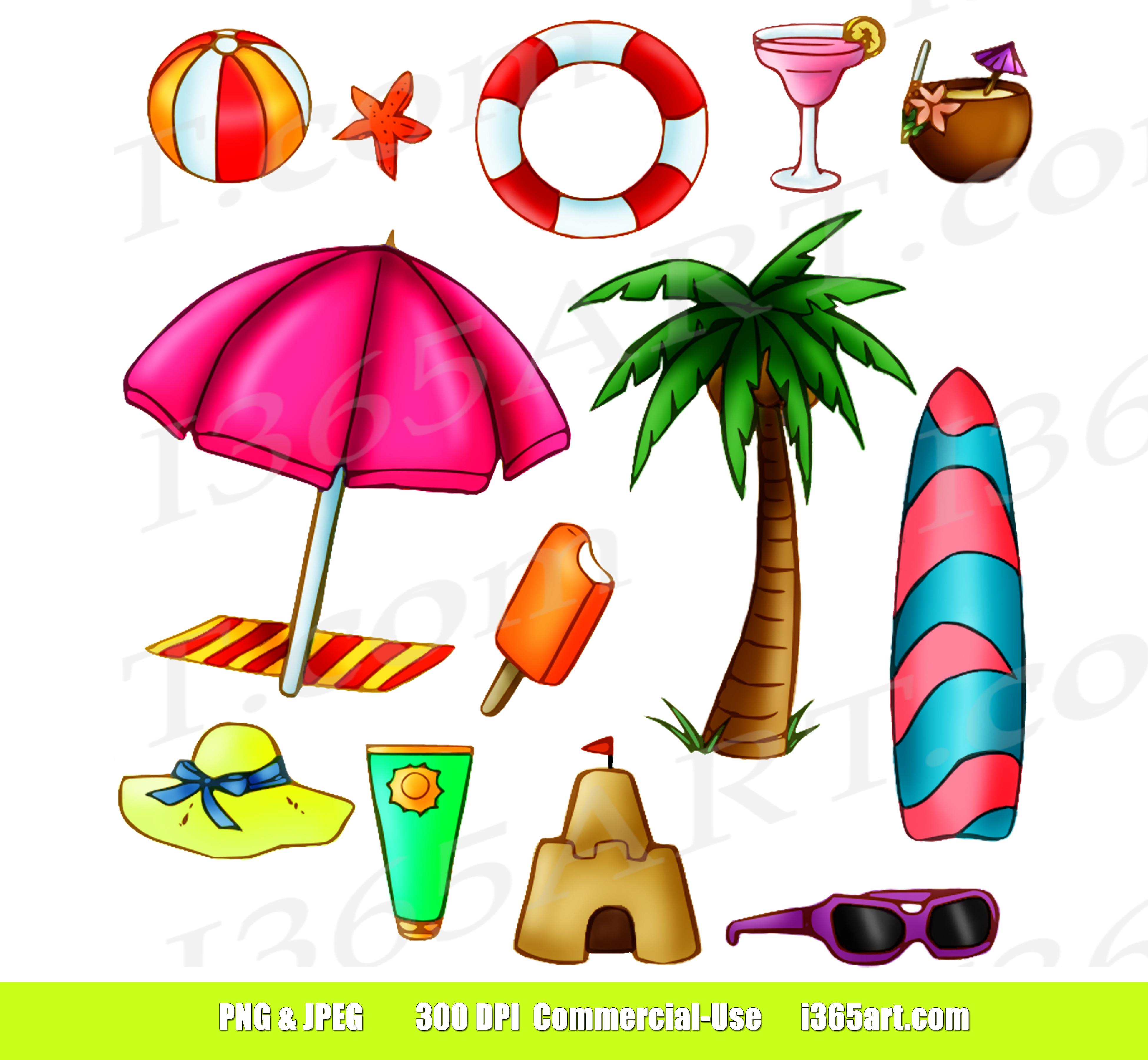 Summer Time Clipart, Beach Fun Clip Art Set.