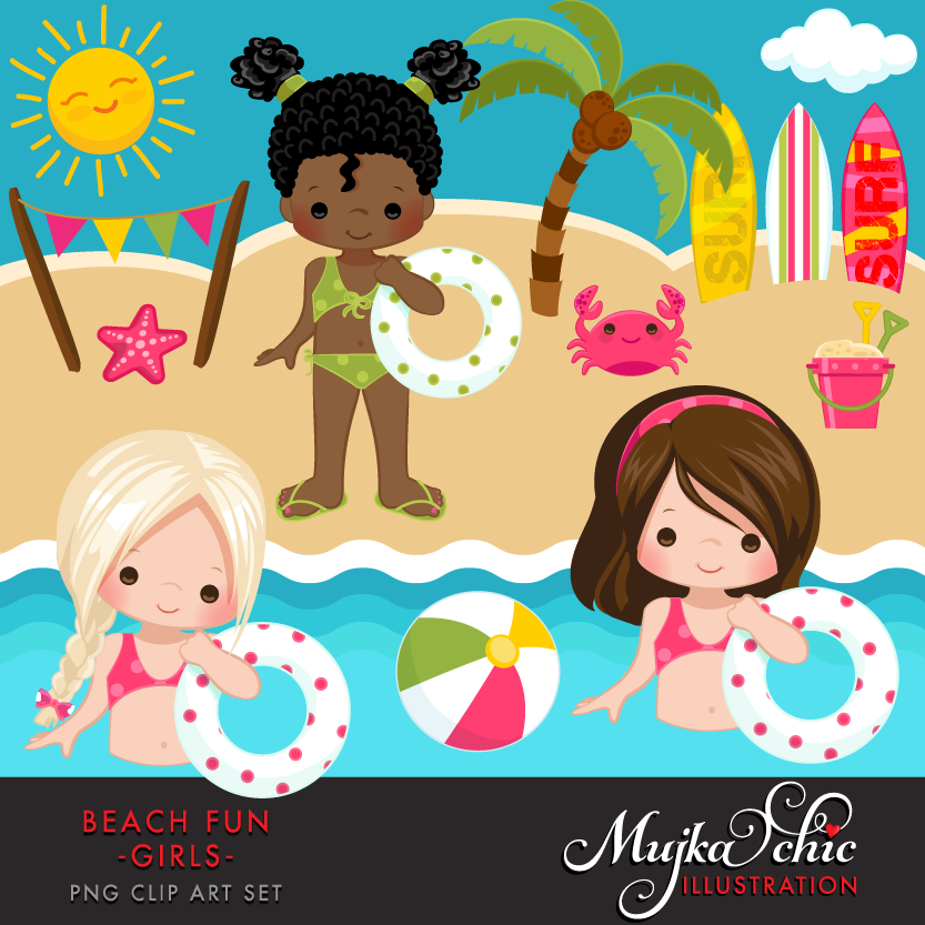 Beach Fun Clipart Girls.