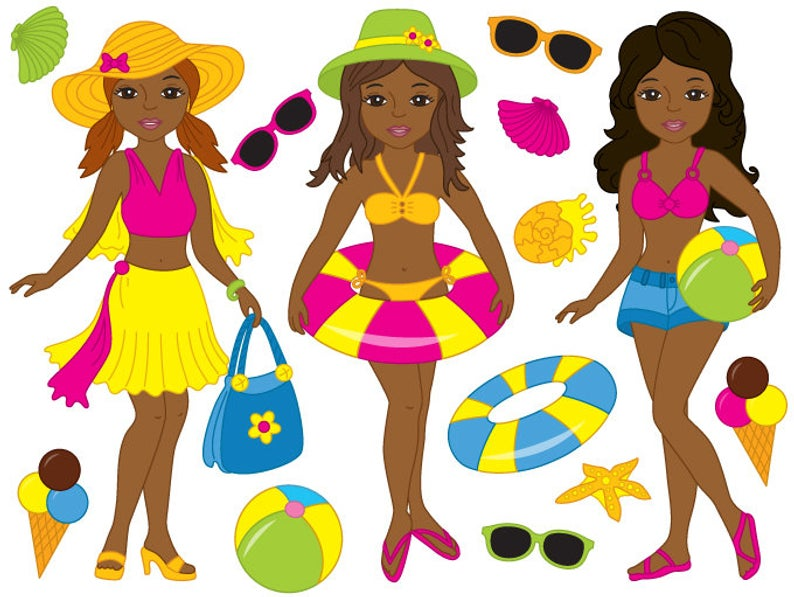African American Beach Girls Clipart.