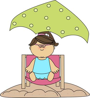 Girl Sitting in a Beach Chair Under an Umbrella.