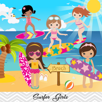 Digital Surfer Girl Clip Art, Summer Beach Girl Clip Art, Kid Surf Clip Art.