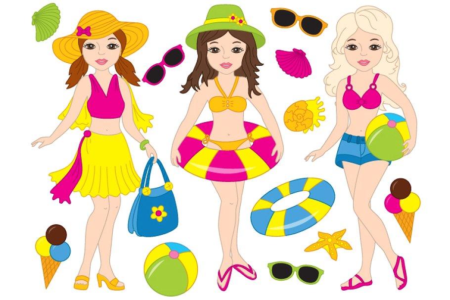 Vector Beach Girls Set.