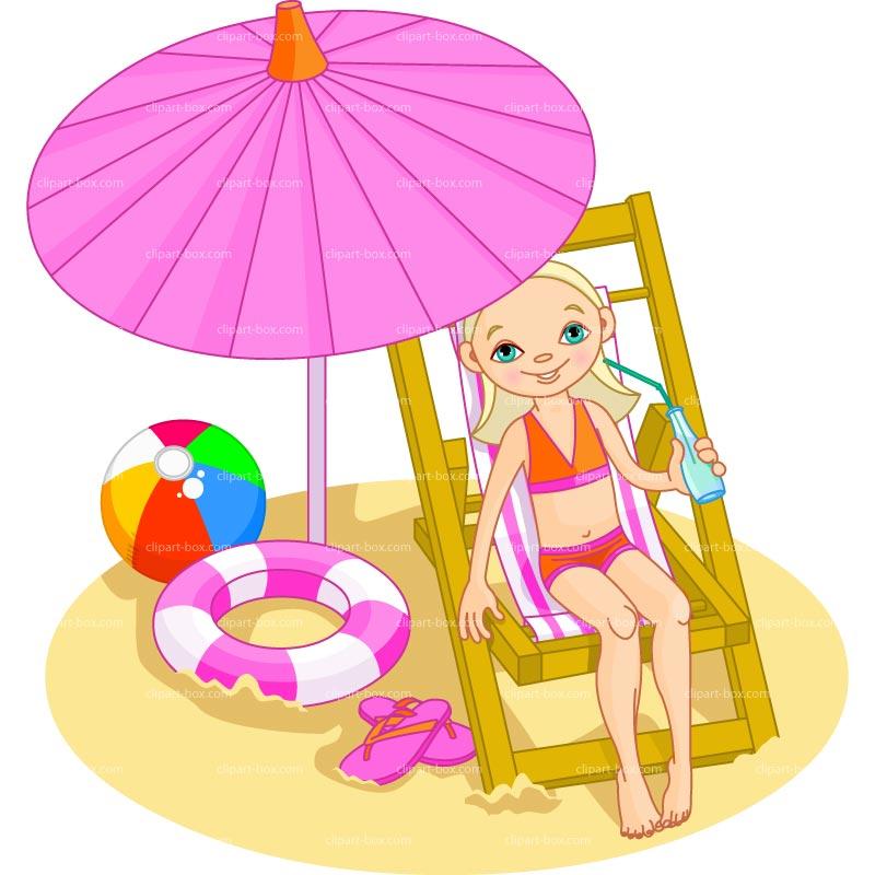 Girls on beach clipart.