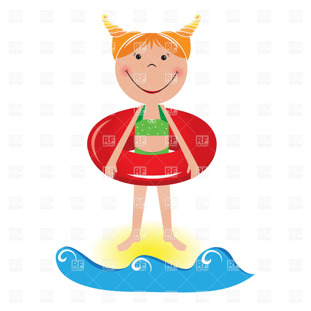 Girls on beach clipart.