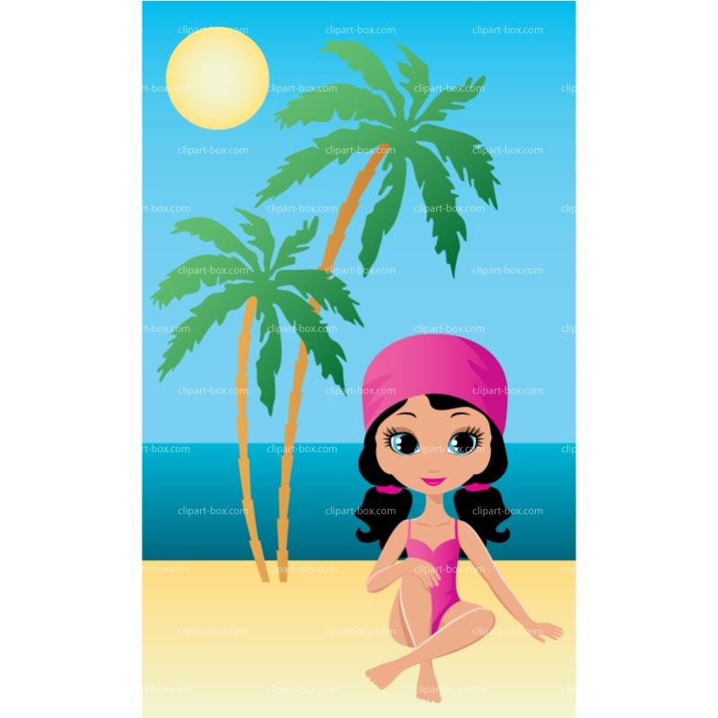 Girls beach clipart.