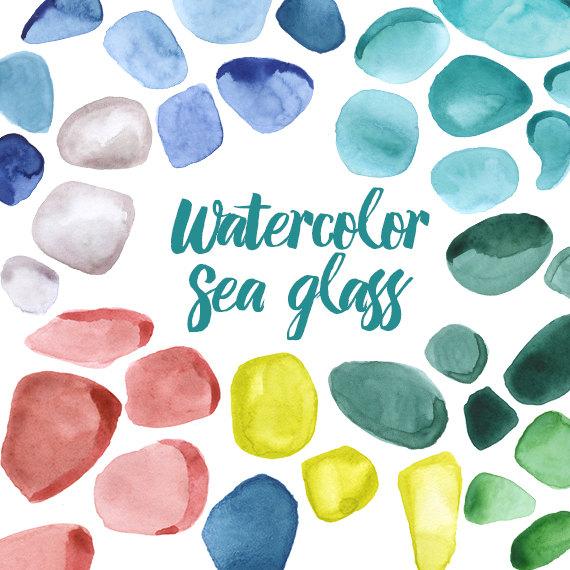 Watercolor Sea Glass Clipart Illustration Rocks Precious.