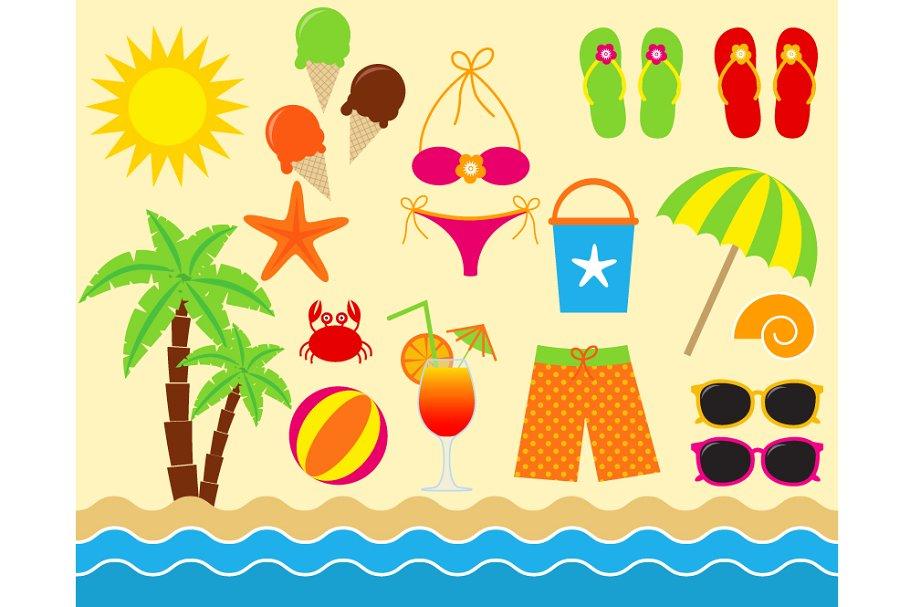 Digital Beach Clip Art.