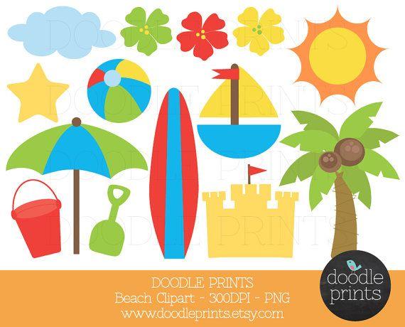 Digital Clip Art Printable, Beach Clipart, Surf Clipart, Summer.