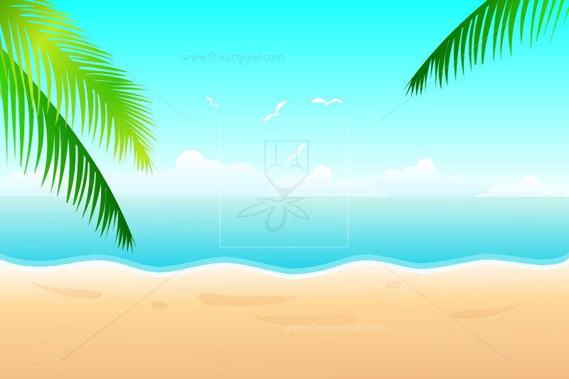 Summer beach with palm leaf.
