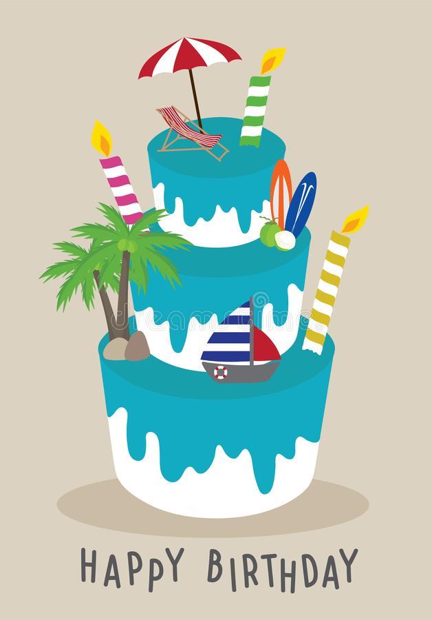 Birthday Beach Stock Illustrations.