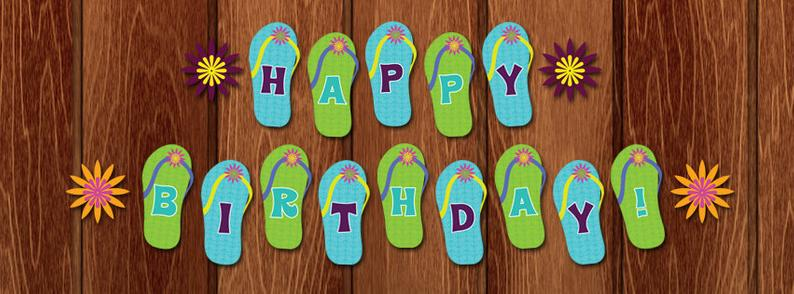 PRINTABLE Flip Flop Flower Beach Happy Birthday Banner for instant  download! Blues green and purple sandals with flowers..