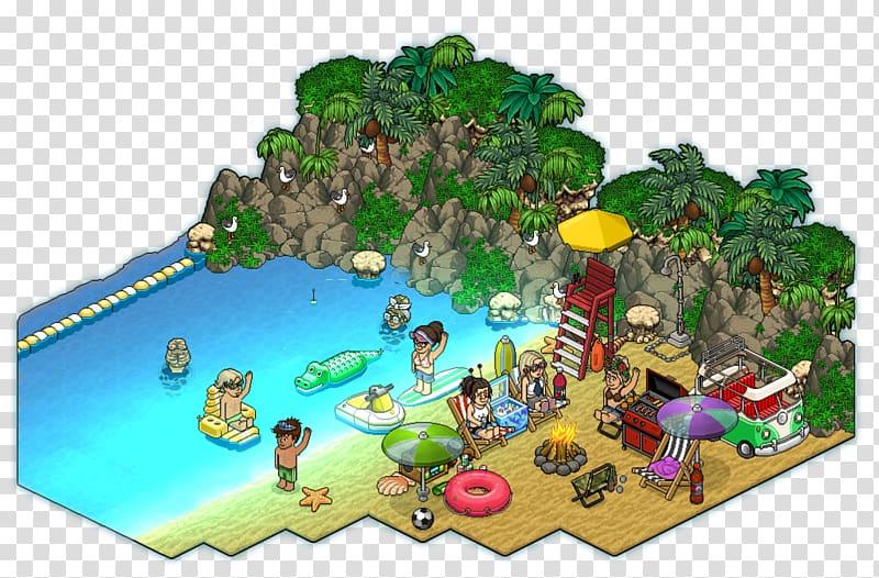 Habbo Pixel art Jumping Pumpkin Beach Hotel, Summer Vibes.