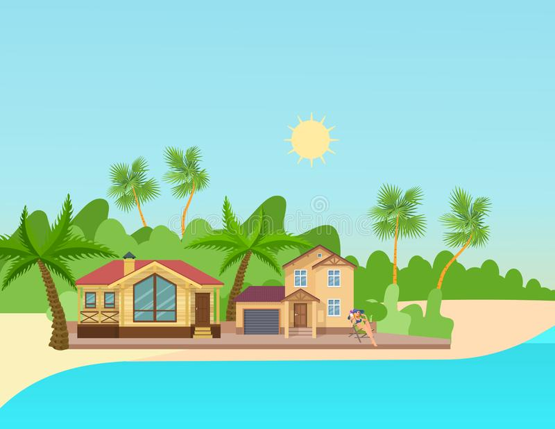 Beach House Stock Illustrations.
