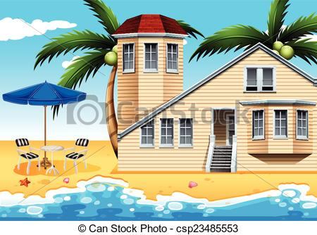 Vector Clip Art of Beach house.