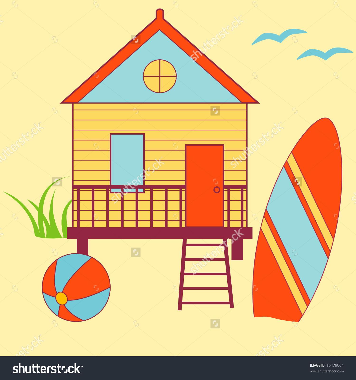 Vintage beach house clipart.