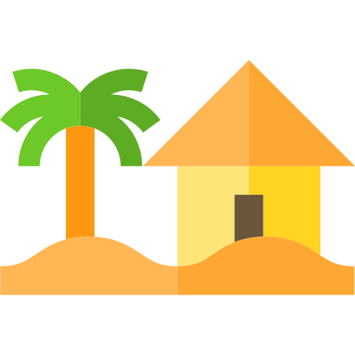 landscape, Palm Tree, Beach, house, nature icon.