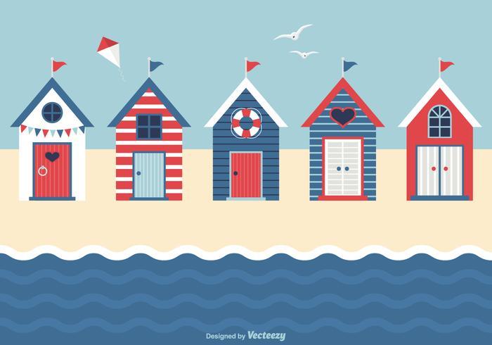 Nautical Beach Huts Vector.