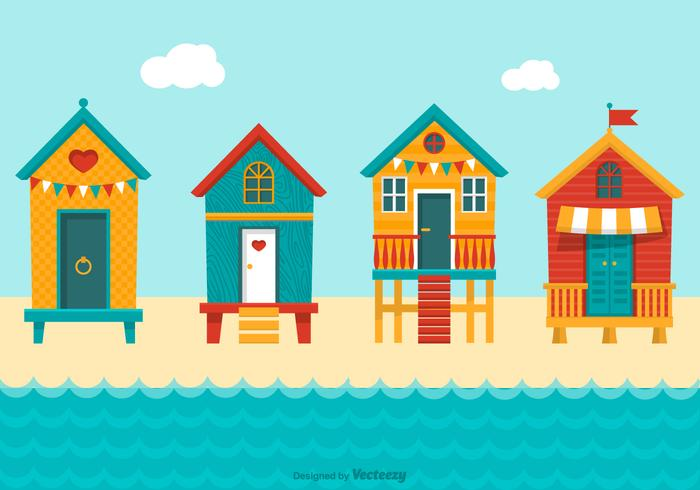 Colourful Beach Huts Vector.