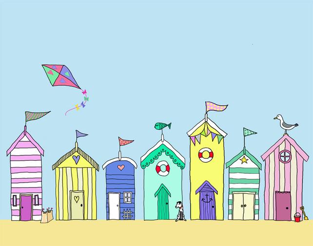 Clip Art Row Of Beach Huts Clipart.