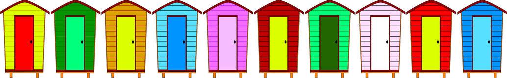 Beach Huts Stock Illustrations.