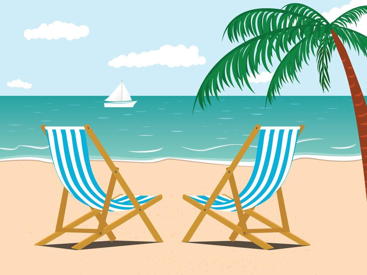 Vacation at the beach illustration. Adobe Illustrator.
