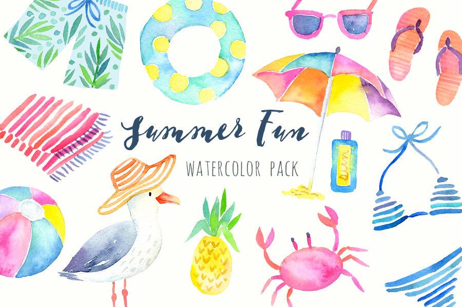 Watercolor Summer Clipart.