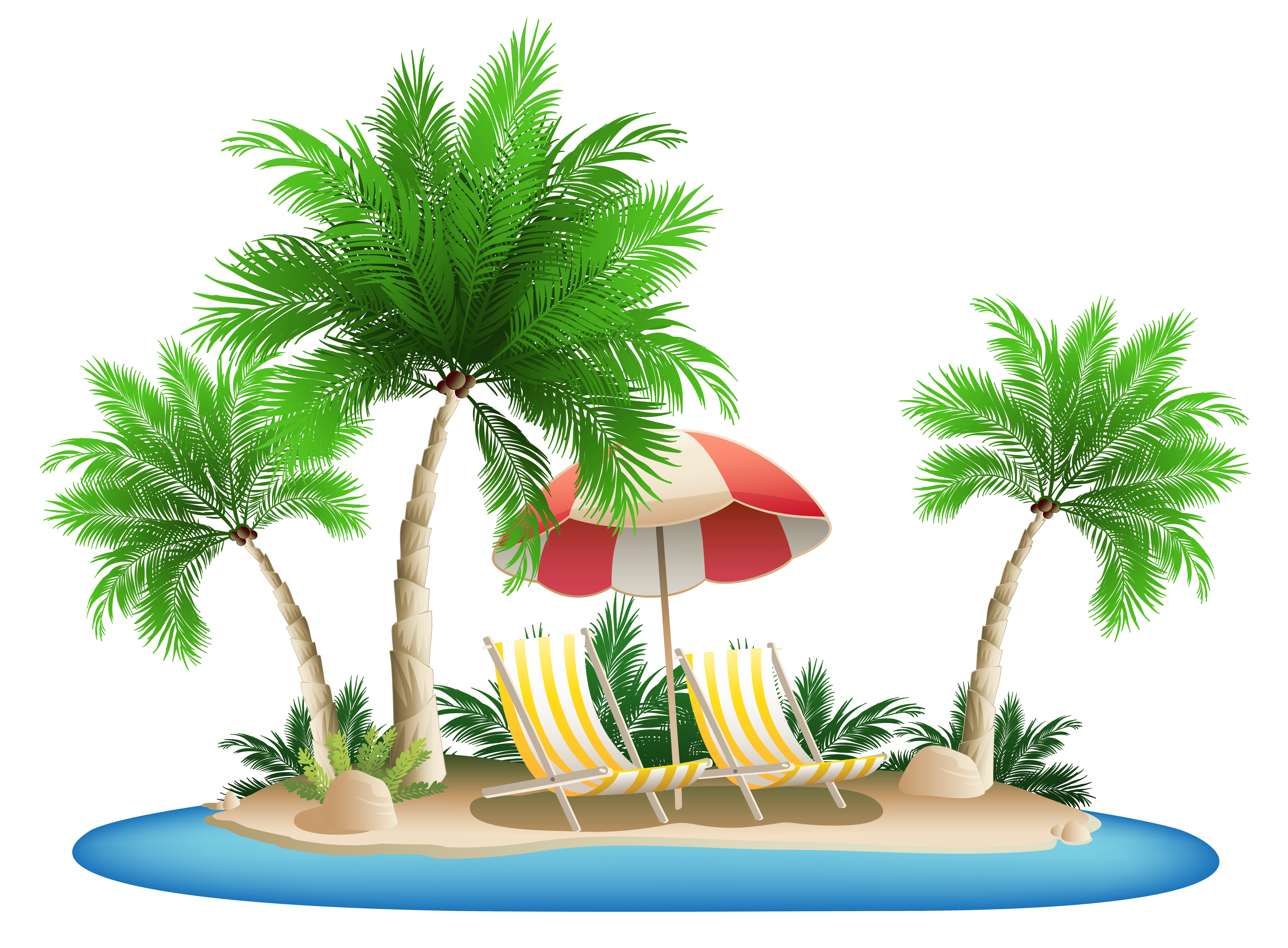Beach Umbrella with Chairs and Palm Island PNG Clipart.