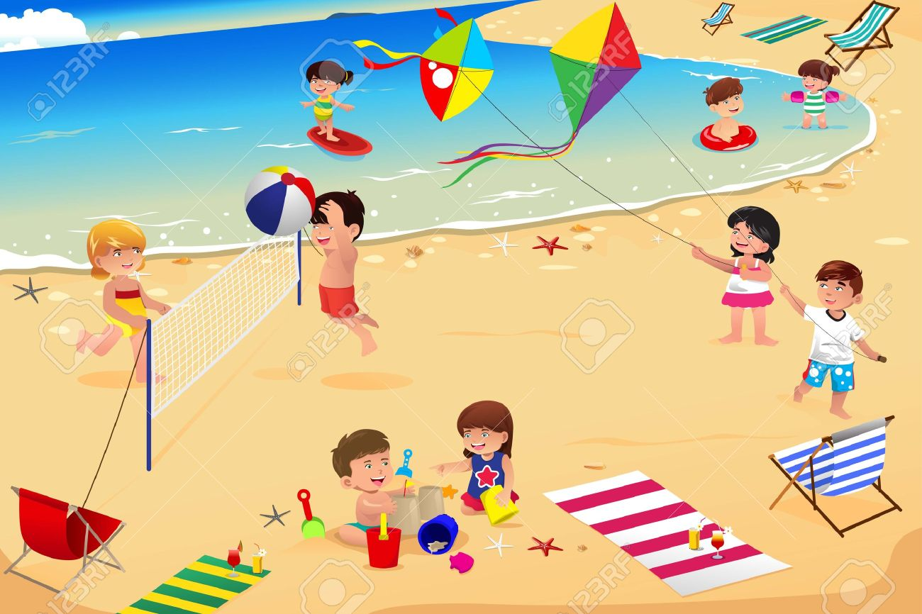 An illustration of happy kids having fun on the beach.