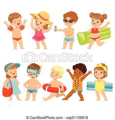 Cute Kids Toons Are Having Fun On The Beach.