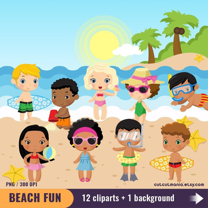 Beach Fun clipart set, Summer beach, Kids at the beach, Seaside digital  clip art, PNG 300 DPI.