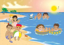 Free Kids At The Beach Clipart and Vector Graphics.