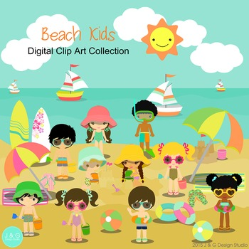 Beach Kids Series 2 Digital Clipart, clip art.