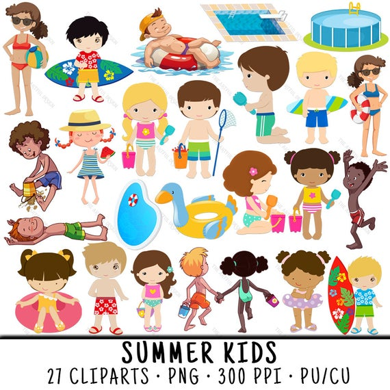 Summer Kid Clipart, Summer Clipart, Beach Clipart, Summer Kid Clip Art,  Swimming Pool PNG, Beach Clip Art, Summer Kid PNG, PNG Swimming Pool.