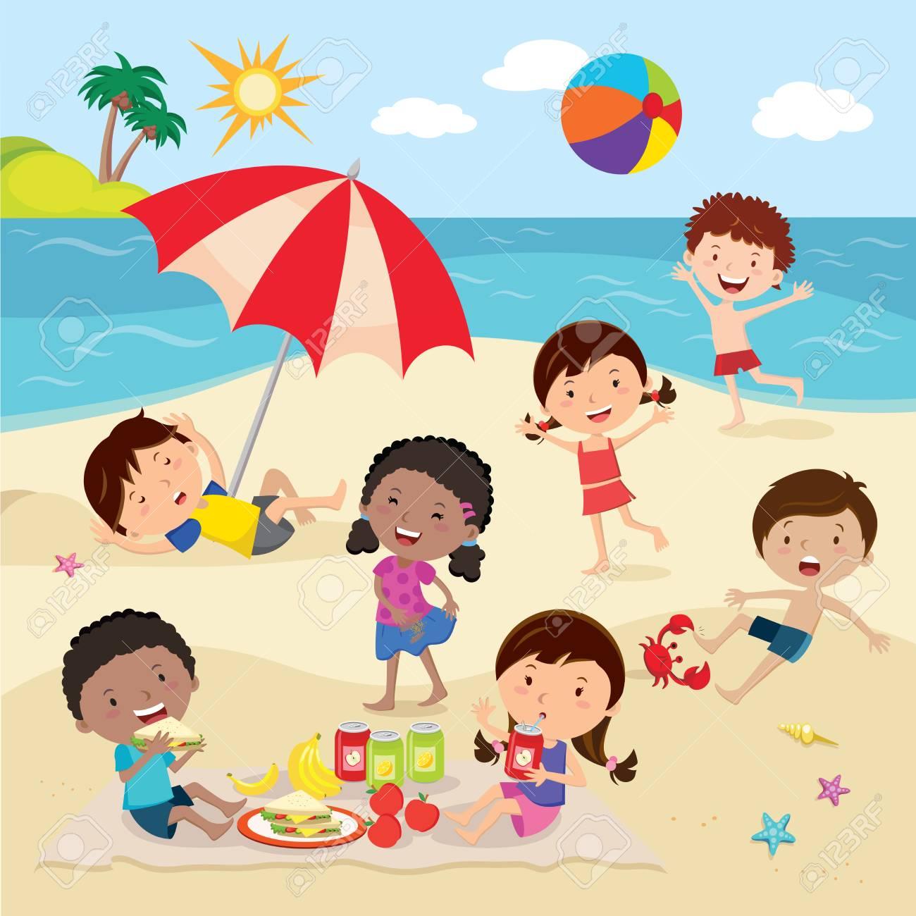 Happy kids having fun on the beach.