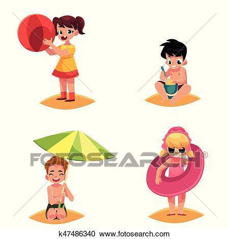 Babies, kids, children on the beach, sea summer holidays Clipart.