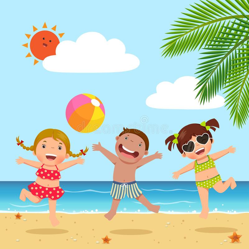 Kids Beach Stock Illustrations.