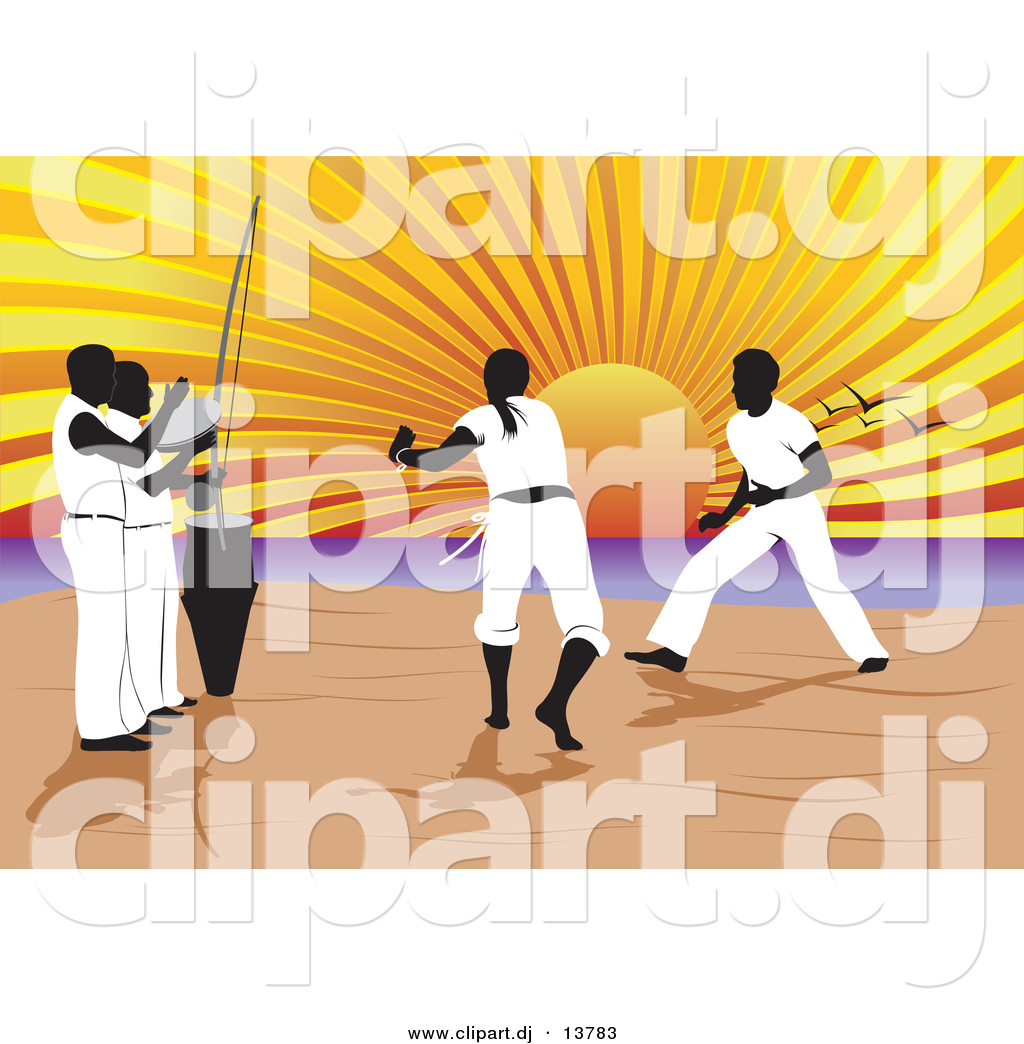 Vector Clipart of a Capoeira of Music and Martial Arts on a Beach.