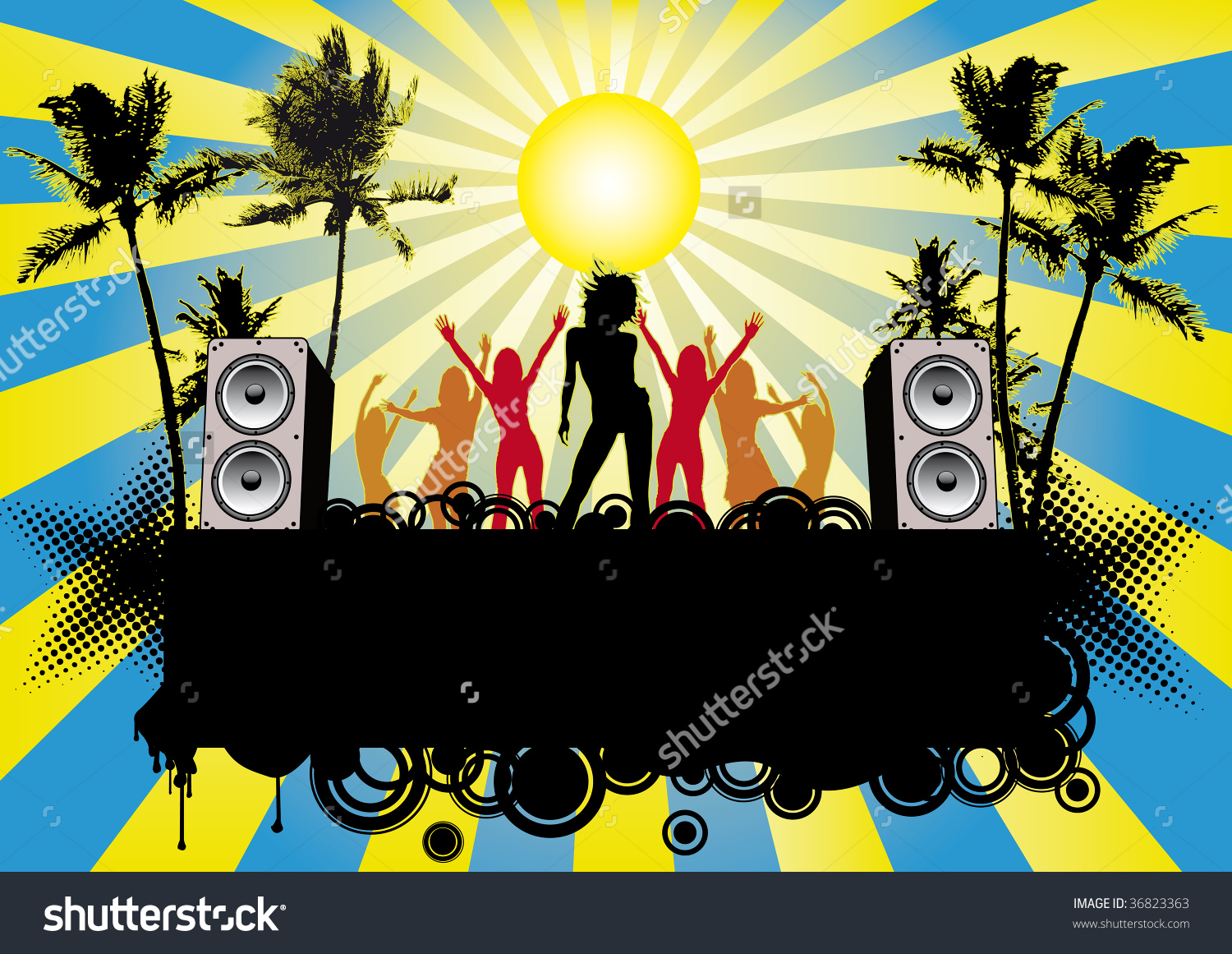 Beach Party Music Flyer Poster Stock Illustration 36823363.