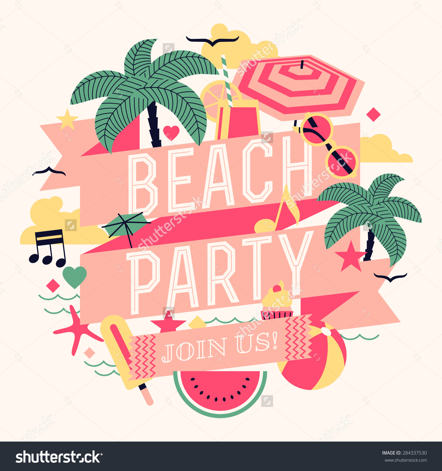 Beautiful Beach Party Design Element Palms Stock Vector 284337530.