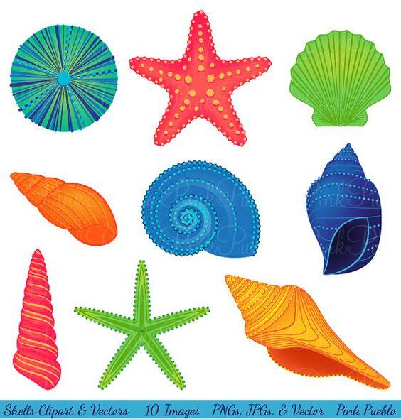 Conchas Clipart Clip Art, playa Océano viajes vacaciones Clip Art.