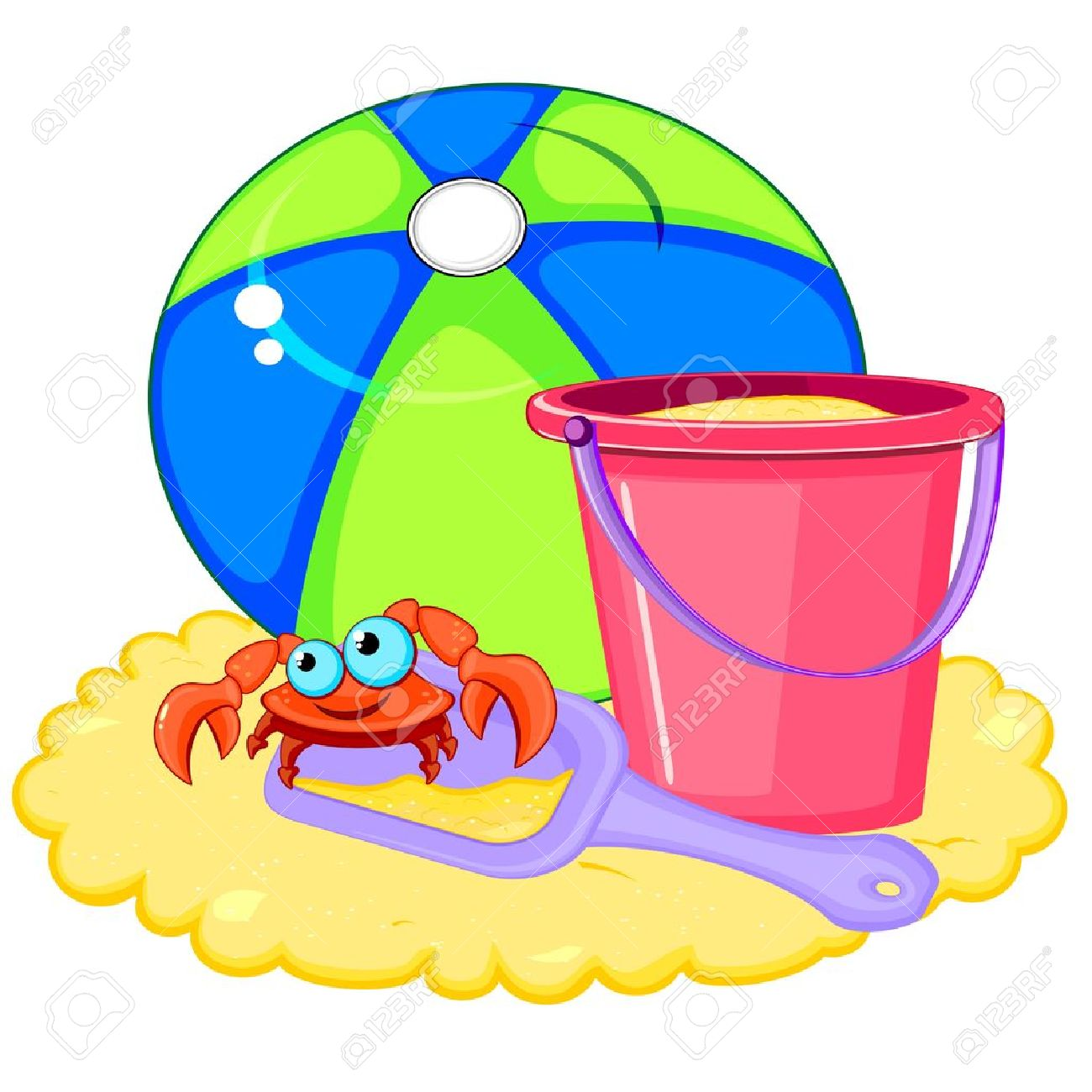 Bright beach ball and pink bucket with shovel and crab on sand.