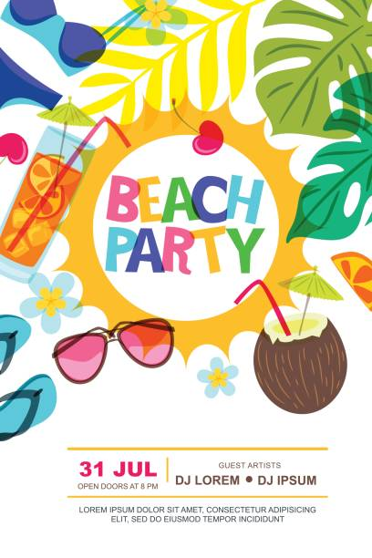 Best Beach Party Illustrations, Royalty.