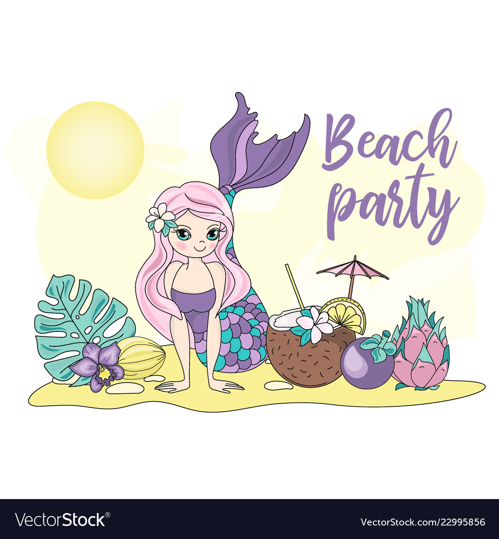 Beach party sea travel clipart color.