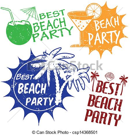 Beach party graphics.