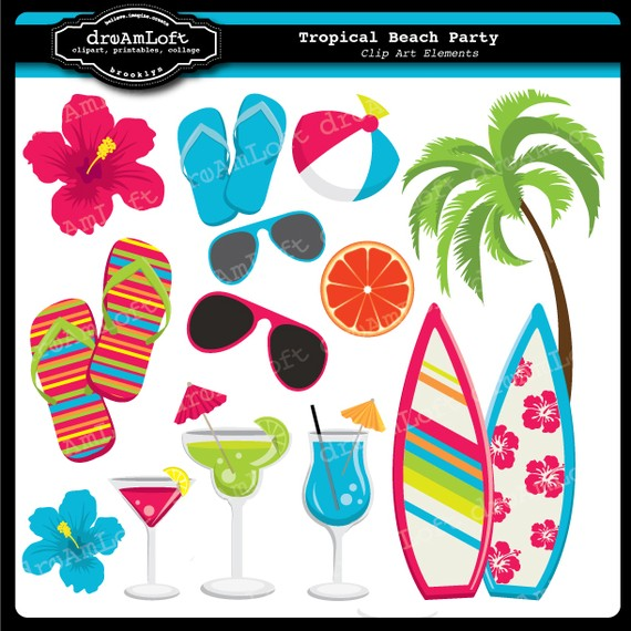 Beach theme party clip art.