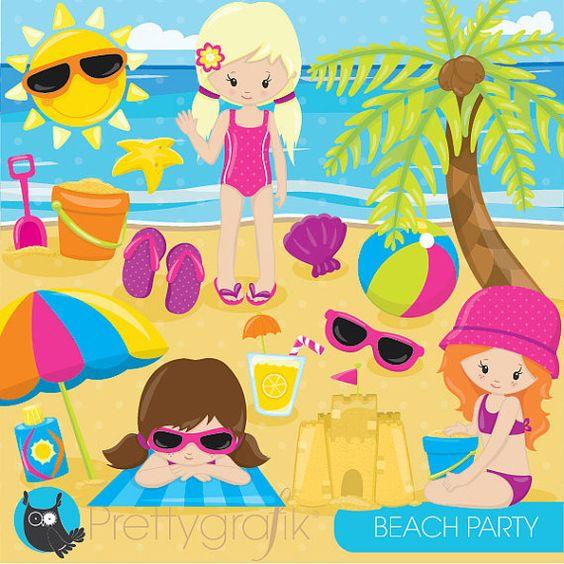 80% OFF SALE Beach party girls clipart by Prettygrafikdesign.