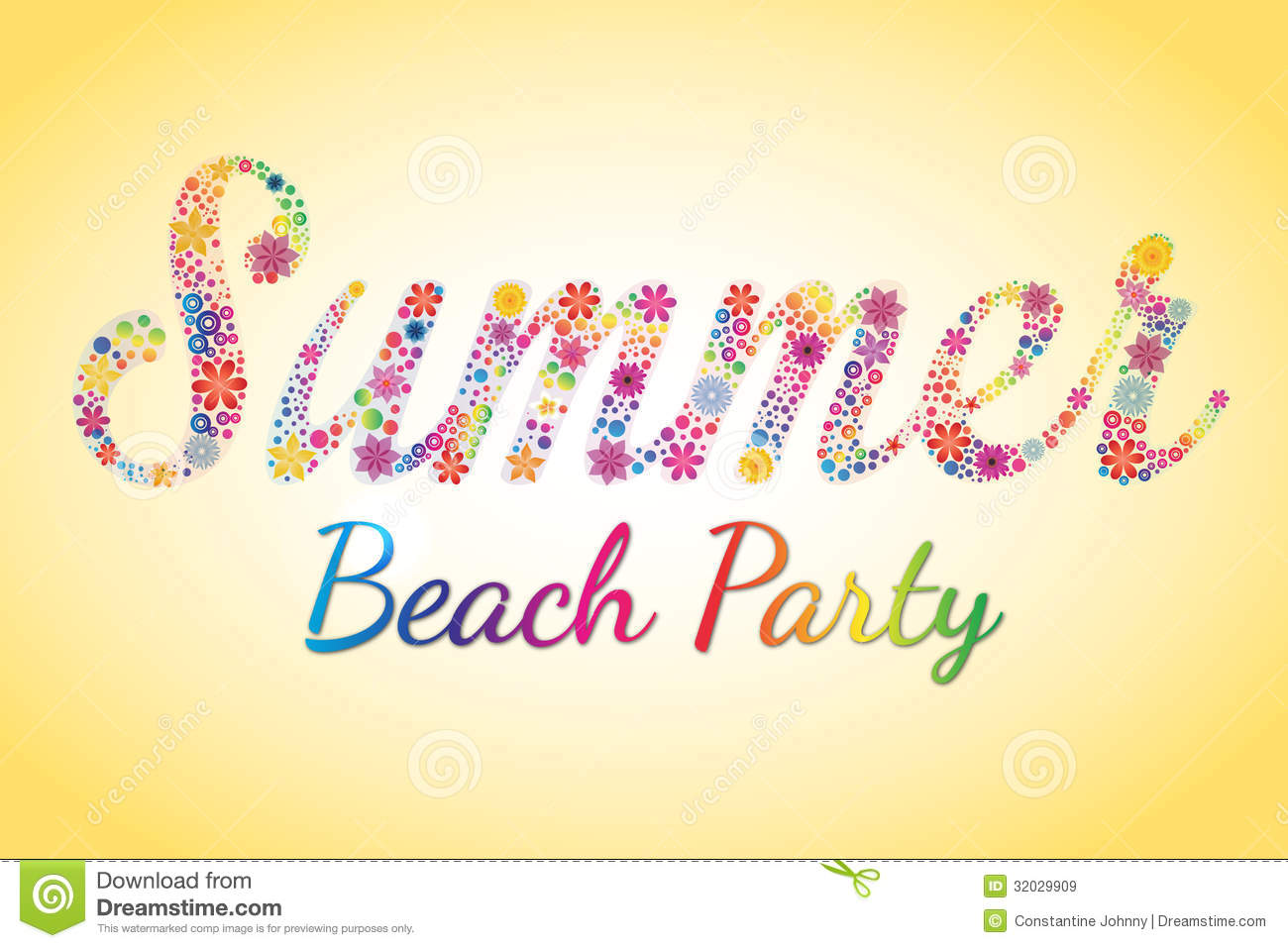 Summer Beach Party Vector Flower Typography Stock Vector.